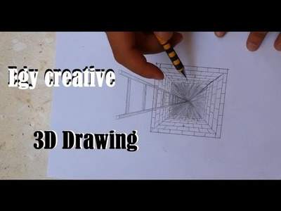 Egy creative | learn How to draw 3D hole with ladder, 1 point drawing