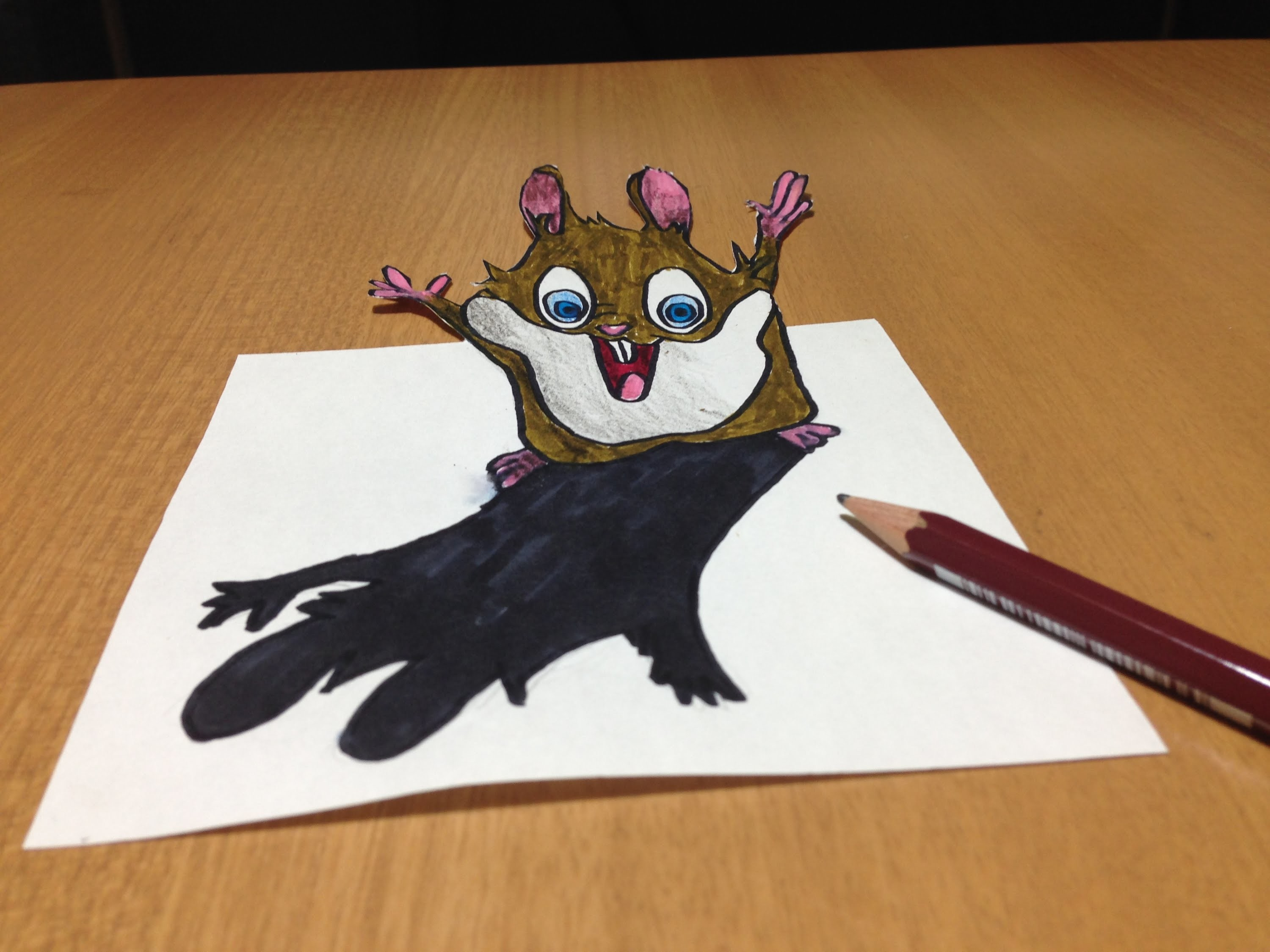 Freehand 3d Cute Hamster Drawing Anamorphic Illusion Time Lapse