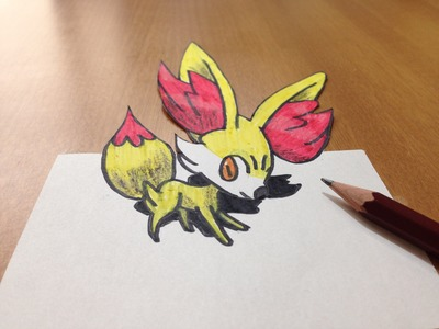 How to draw 3D Fennekin, Time Lapse