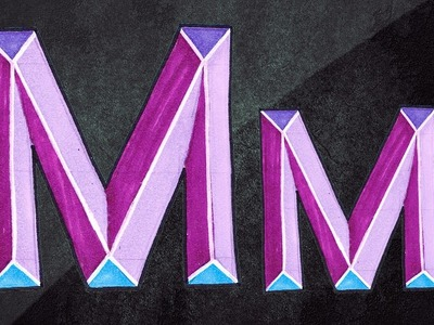 How To Draw 3D Letters || 3D Graffiti || Draw Letter M In Chisel Letters