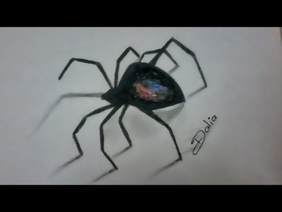 How to draw 3D Spider easy