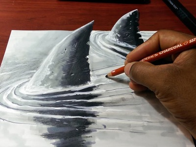 How to Draw a 3D Shark Fins - Fast and Easy