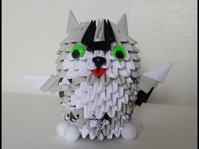 How to make 3d origami small cat