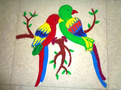 How to make 3D twins parrot rangoli