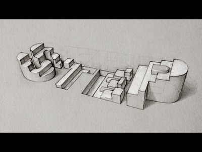 "Quick sketch - 3D Typography ""STEPS"" - process speed-drawing"