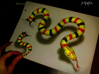 Realistic 3D Drawing Green Snake Time Lapse