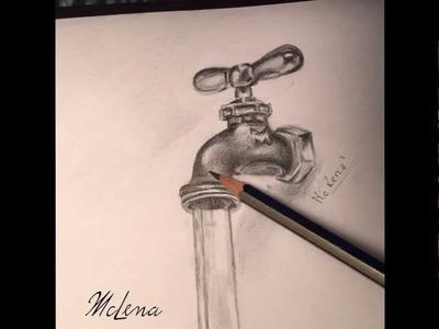 Realistic drawing.faucet.kran.3d rysowanie  time-laps, calligraphy