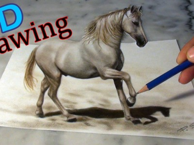 Speed Drawing of a Horse in 3D ! Anamorphic Illusion