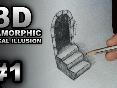 Trick Art - 3D Anamorphic Optical Illusion Drawing - Time Lapse