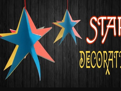 """Tutorial to make """"Hanging Star Decoration"""" for Christmas Tree 