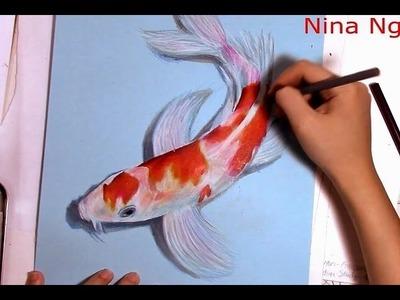 3D Art Drawing Koi Fish With Colored Pencil Demo (Kohaku)