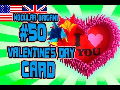 3D MODULAR ORIGAMI #50 Valentine's Day Card