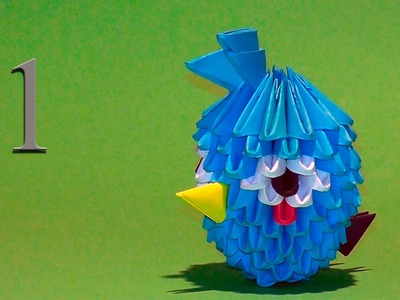3D origami Blue Angry Bird Tutorial