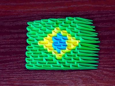 3D origami flag of Brazil (Brazilian flag) Tutorial