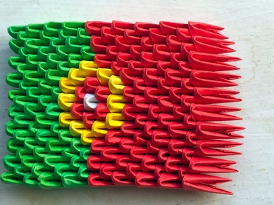 3D origami flag of Portugal (Portuguese flag) Tutorial
