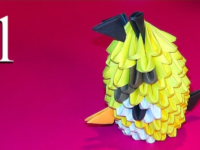 3D origami Yellow Angry Bird