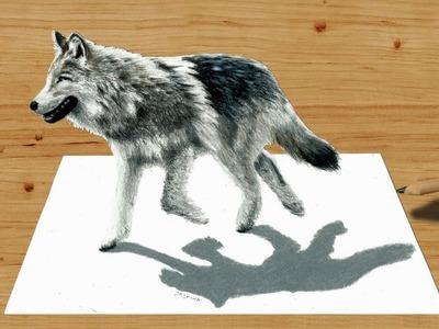 3D Pencil Drawing: Walking Wolf - Speed Draw   Jasmina Susak