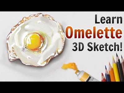 3D Pencil Drawings | Learn Amazing 3D Omelette Sketch Tutorial in Few Easy Steps
