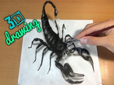 3D Scorpion Drawing.AMAZING realistic illusion! How to Draw 3D