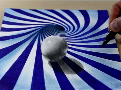 3D Trick Art on Paper   Ball in blue spiral