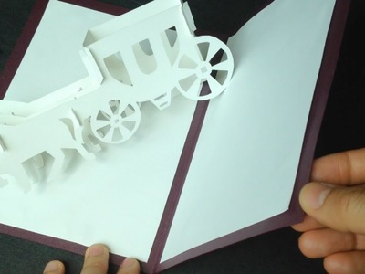 3D Wedding Carriage Card Pop-up Paper Tutorial