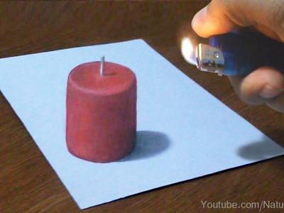 Burn Candle, 3D drawing Trick Art | Time Lapse
