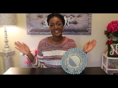 DIY Dollar Tree Mirror Gem Plate Stand | Mable Glass Display Tray | Living Room Centerpiece