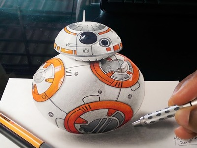 Drawing 3D BB-8 Robot from Star Wars - Optical Illusion