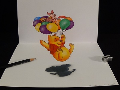 Drawing 3D Winnie, Trick Art by Vamos