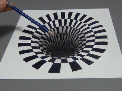 Drawing a 3D Hole Optical Illusion (Time Lapse)