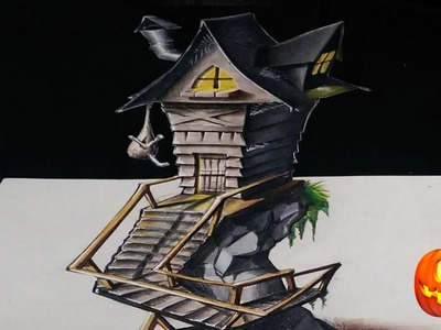 Drawing a 3D Witch House - Halloween Week | #1