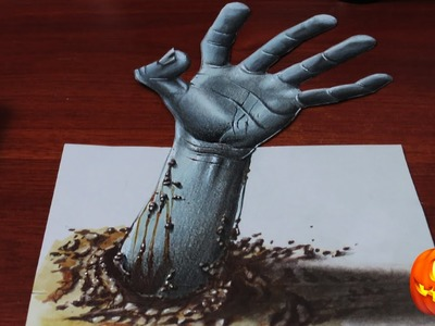 Drawing a 3D Zombie Hand - Halloween Week | #2