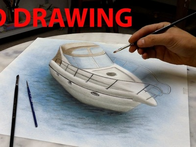 Drawing of an Yacht in 3D. Speed Painting (trick art)