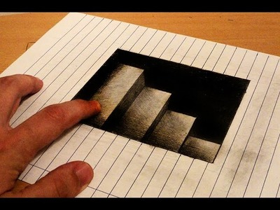How to draw - 3d stairs to down - Anamorphic Drawing - Optical illusion