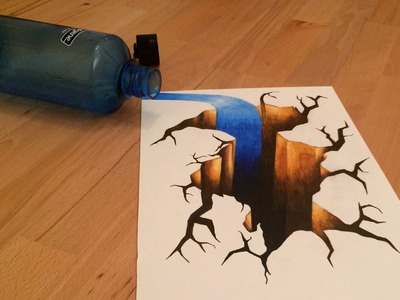 How to draw a 3D hole, cracked floor with spilled water