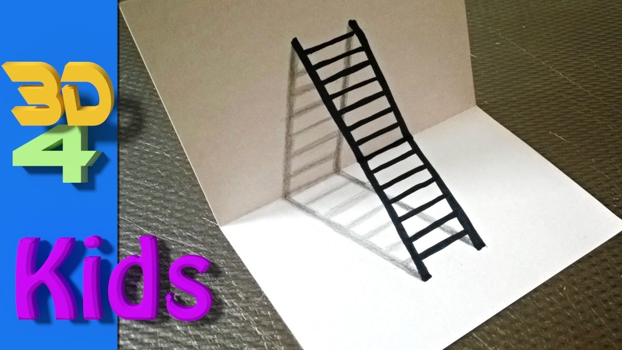 How to draw a 3D ladder step by step.#2