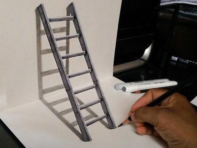 How to Draw a 3D Stairs - 3D trick