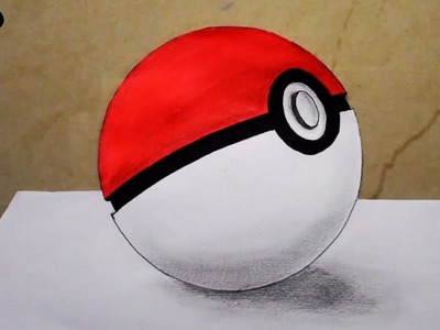 How To Draw Pokemon Pokeball Drawing 3D