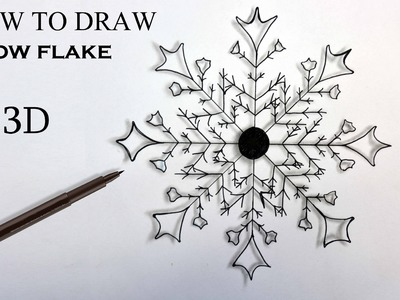 How To Draw SNOW FLAKE in 3D. Tutorial easy