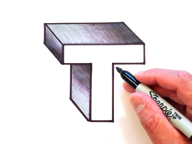 How to Draw the Letter T in 3D, My Crafts and DIY Projects