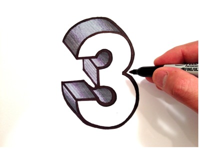 How to Draw the Number 3 in 3D