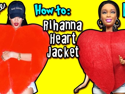 Rihanna Heart Jacket Tutorial for Barbie Doll - DIY - How To Make Barbie Clothes