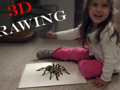Spider 3D Drawing.Amazing terrible Trick Art. dibujar bien tarantula
