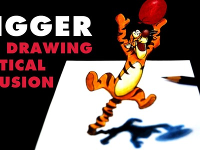 Tigger 3D Optical Illusion Drawing | Sketchbook by Oh My Disney