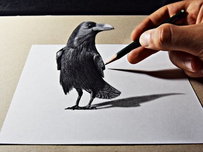 3D Art Drawing On Paper With Pencil