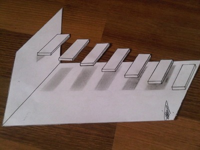 3D Illuziya #14  (3D Drawing staircase floating in the air )