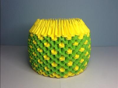 DIY: 3D Origami Brush.Pen Holder (D.Green & Yellow)