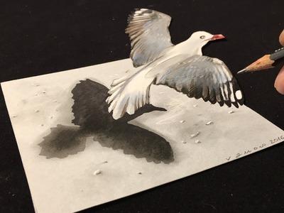 Drawing a 3D Flying Bird, Trick Art