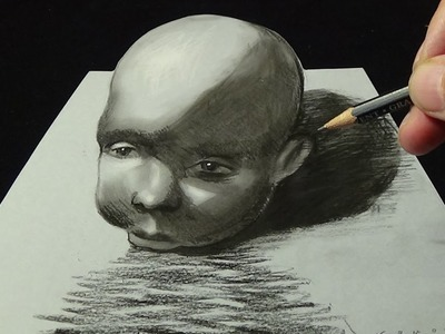 Drawing a Baby Head, 3D Illusion, Trick Art
