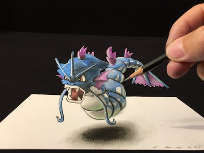 Drawing a GYARADOS #130, 3D Optical Illusion